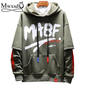 Mwxsd  men's printed solid hoodies japan style spring sweatshirts for men cotton streetwear hip-hop tracksuits M-5XL