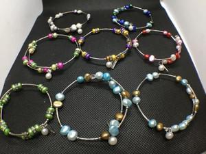 10 Colores Perlas de Agua Dulce Pulsera de Perlas de Moda Natural Joyería de Perlas Pulsera Ajustable Encantos Regalo de las mujeres Amor Deseo Joyería de Perlas
