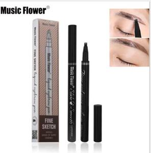 음악 꽃 액체 눈썹 펜 음악 꽃 눈썹 증강 인자 3 색 더블 헤드 눈썹 향상제 방수 DHL 무료 배송