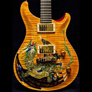 희귀 1999 스미스 드래곤 2000 # 30 바이올린 앰버 화염 메이플 최고 일렉트릭 기타 없음 인레이 Fretboard의, 이중 잠금 트레몰로는 목재 바디 바인딩