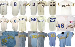 """Clinton Pilotlar 1969 Ev Jersey 100. Yıldönümü Joe Schultz """"Nadir 1 Yıllık Stil"""" Seattle Pilotlar Retro Özel Beyzbol Formalar S-XXXL"""
