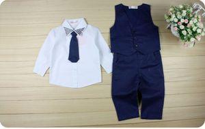 Джентльмен дети Малыш младенческой мальчиков формальный костюм топы рубашка жилет галстук брюки 4 шт. комплект одежды