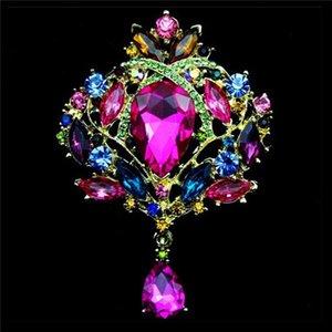 14 Farben Metall Broschen Vergoldet und Versilbert Kristall Strass Crown Form Brosche Pins Schals Schnalle Hochzeit Bridal Beste Geschenk