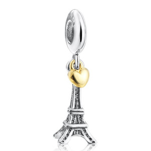 Authentique Argent 925 Coeur d'or avec la tour Dangle Perles Pendentif Charm Bracelet Fit Europe Bracelet pour les femmes Bijoux Diy