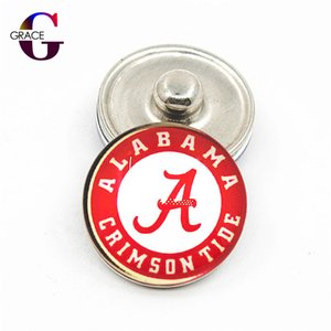 10 pcs NCAA Alabama Crimson Tide Esportes Snap Botões De Vidro Fit 18mm Snap encantos PulseiraBangles Colar Pingente de Jóias DIY