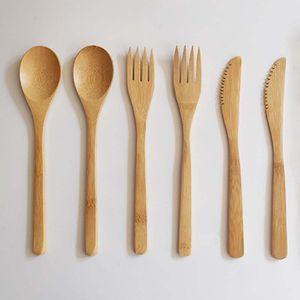 Recién llegado de bambú Cubiertos Set Adultos Estilo Japonés Bamboo Jam Cubiertos Cuchara De Bambú Natural Tenedor Cuchillo Vajilla Set