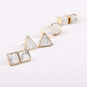 H:гайд мода квадратный треугольник круглый геометрический мраморный белый натуральный камень смолы серьги стержня для женщин Рождественский подарок