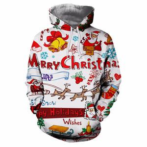 크리스마스 남녀 스트리트 남성 3D 인쇄 크리스마스 의류 후드 풀오버 여성 / 남자 인과 느슨한 후드 스웨터 팜므 높은 품질