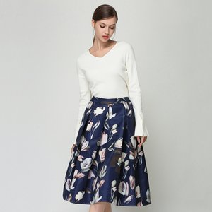 Summer Women Skirts Floral Printed Faldas Mujer High Waist Saia Feminina Plus Size Female Skirt Blue Green White Purple N609YS