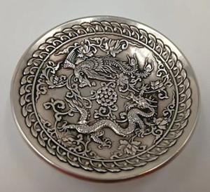 Plat traditionnel chinois avec dragon et phénix sculptés à la main en cupronickel