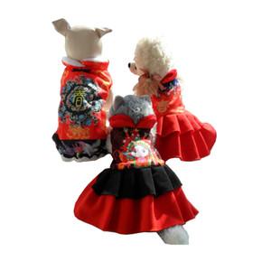Neues Jahr rotes Kleid schwarz Overall für kleine Hunde Kleidung Kostüme Welpen Hunde Hochzeit Geburtstag Party Fleece Kostüm Herbst Winter