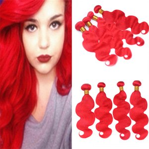 Virgin Indian Red Hair 4 Bundles Offres Body Wave Ondulés Cheveux Rouges Brillants Double Trames Extensions Trame Longueur Mixte