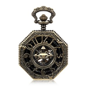 United Kingdom Lucky Bats Pendant Hexagon Skeleton Watches Steampunk Vintage Mechanical Pocket Watch w Chain 8 Style For Choice