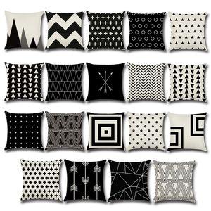 Siyah ve beyaz çapraz Yastık Kılıfı Nokta Ok dalga Desen Yastık Kılıfı Pamuk Keten Baskılı Geometri Euro Yastık Kapakları 45 * 45 cm C5532