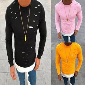 3Colors дизайнер Майка Весна мода мужская повседневная О-образным вырезом поддельные две части тонкий с длинным рукавом рубашки топы плюс размер Расширенная футболка S-3XL