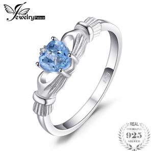 JewelryPalace Natürliche Aquamarin Irish Claddagh Ring Solide 925 Sterling Silber Liebe Herz Frauen Edlen Edelstein Schmuck Auf Verkauf
