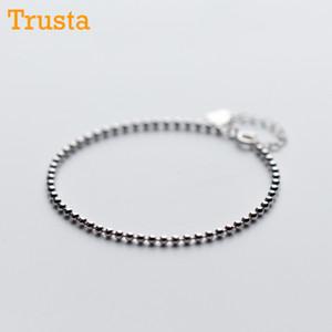 Trusta 100% 925 de plata esterlina real moda mujer Beads pulsera Bransoletki Pulseras 15 cm para la muchacha adolescente joyería de la señora DS994