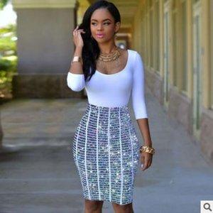 Art und Weisefrauenkleiddigitaldruck reizvolles Kleidpakethüfte Nachtklubfreizeitsommerrock gefälschte zwei U-Ausschnitt