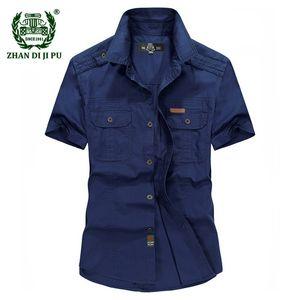 Твердые Плюс Размер M-5XL Летние Мужские Повседневные Бренд Рубашки С Коротким Рукавом Человек 100% Чистый Хлопок Afs Джип Хаки Рубашки Army Green Clothing