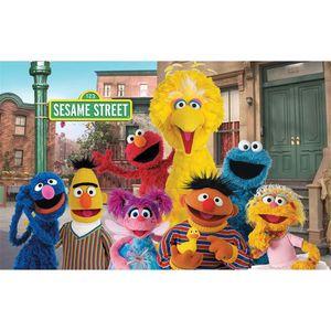 Contesto di compleanno di Elmo World Sesame Street per la fotografia Bambino Bambini Bambini Cartoon Tema Photo Booth Sfondo personalizzato