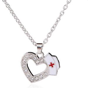 Cute Fashion Medical Jewelry Krankenschwester Cap Charms Kristall Liebe Herz Anhänger Halsketten Weiß Emaille Rotes Kreuz Zeichen Medizin Schüler Geschenk