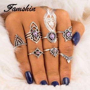 FAMSHIN Fashion 7Pcs/ Set Color Crystal  Ethnic Wind Hollow Flower Modeling Vintage Exaggerated Combination Ring For Women