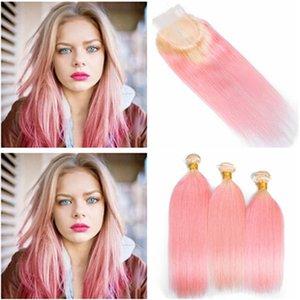 Два тона #613 / розовый Ombre перуанский пучки человеческих волос сделки с закрытием прямой блондинка и розовый Ombre 4x4 кружева закрытия с волосами ткет