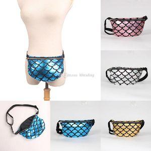 Mermaid Waist Bag Fish scales Purse 2018 women Makeup Bags cartoon Messenger bag Mermaid Shoulder Bags 4 colors Handbags C3679