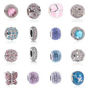 1 pcs prata cor charme e coração de cristal europeu moda talão fit pandora pulseiras mulheres diy jóias presentes