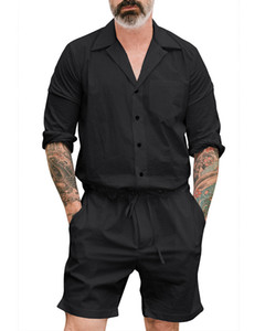 2018 New Men's Summer Jumpsuit Cargo Short Pants Set Male Short Sleeve Overalls Mens Rompers Single Breasted Jumpsuits