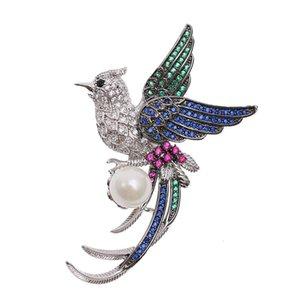 Урожай Роскошных Женщин Phoenix Брошь Высококачественной Циркон Имитация Pearl Pin животные платье птица Стиль брошь украшение аксессуары оптом