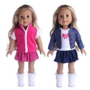 Nueva ropa trajes de vestir pijamas para 18 pulgadas American Girl Doll Cowboy Suit nuestra generación de accesorios al por mayor