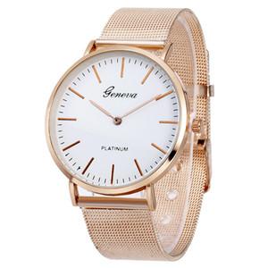 Novo Luxo Ocasional Genebra Malha Liga Strap Mulheres Moda relógios de Pulso Pulseira de Alta Qualidade Senhoras Relógio de Quartzo Relógio reloj mujer Elegante