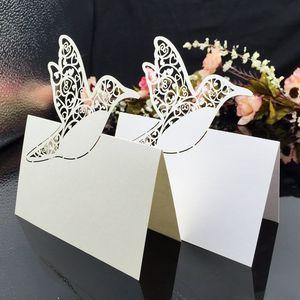 Laser geschnittene Tischkarten mit Vögeln Baum Papier schnitzen Sitzkarten Party Tischdekorationen Visitenkarten für Hochzeiten PC60