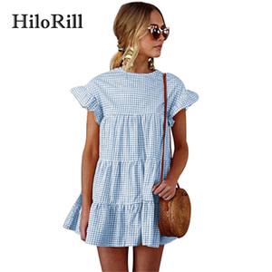 HiloRill Short Sommerkleid 2018 Kurzarm Vintage Plaid Kleid Frauen Flare Sleeve Rüschen Bohemian Beach Sommerkleider XL