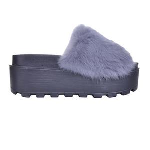 HEE BÜYÜK Platformu Terlik Kadın Ayakkabı Kürk Creepers Takozlar Slaytlar Plaj Flip Flop Ayakkabı Kadın XWM130 Üzerinde Kayma
