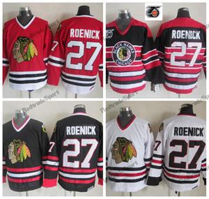 Hombres 1992 Vintage 75.o Jeremy Roenick Chicago Blackhawks Camisetas de hockey Casa barato rojo clásico blanco 27 Jeremy Roenick cosido camisas