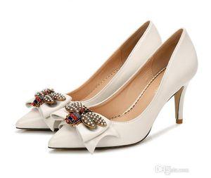 Diseñador de lujo de moda de las mujeres bombea los zapatos del bowtie de la cinta grande abejas de tacón alto-Novia atractiva señaló los zapatos de boda CX22