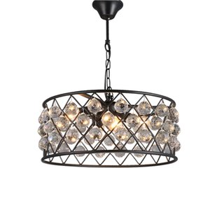 Modern Vintage Industrial Design E27 Black Iron K9 Crystal Round Led Pendant Lights Fixtures for Loft Dining Room bedroom living Room Lamp