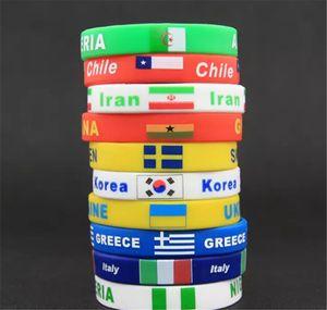 Brand New World Cup Bracelet 2018 Rusia Selección de la Bandera Nacional de Pulsera de Recuerdo Hombres Niños Fútbol Fútbol Fans Deporte Silicona Correa de Muñeca Regalo