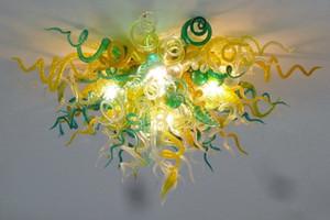 Lampade all'ingrosso Lampadari verdi e gialli Lampadari a soffitto a LED lampadari a mano soffiato in vetro murano in vetro italiano stile lampadario