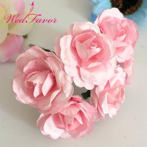 144pcs 3,5 centimetri di fiori di carta di gelso artificiale Scrapbooking artificiale bouquet di rose per ghirlanda corpetto scatola decorazione della casa di nozze