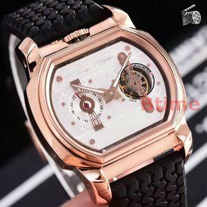 Gomma orologi di sport di Auto-Vento ovale nuovo Tourbillon Orologi Qualtiy meccanico automatico Mens Watch in acciaio inox Fashion