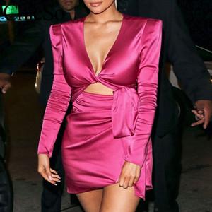 MissyChilli Partido bandage cetim vestido sexy Mulheres v neck club rosa outono dress fluorescência Feminina curto elegante vestidos