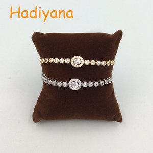 HADIYANA Monica Projeto Cubic Zirconia Tennis Bracelet Com Corrente ajustável Base de cobre Mulher Para presente do ouro Sliver Rhodium SL044