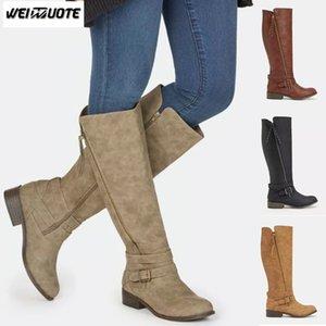 WEINUOTE Moda Otoño Invierno Damas Casual Botas Largas Cinturón Hebilla Rodilla Botas Altas Cremallera Caballero botas de mujer