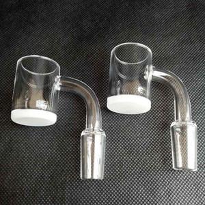 Nuevo 25mm XL Cuarzo Opaco Banger Gavel Nail 4mm Grueso Blanco / Fondo transparente Parte superior plana 10mm 14mm 18mm Clavos de cuarzo sin hogar Tubos de agua de vidrio