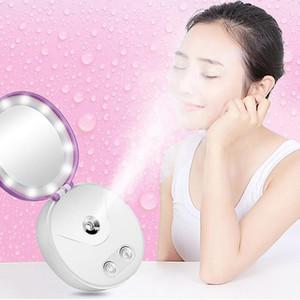 Multifuncional Portátil Maquiagem Cosméticos Luzes Espelho Nano Névoa Pulverizador Facial Corpo Steamer Hidratante Face Banco de Potência