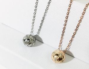 2018 nuevo tema de la Copa Mundial de fútbol collar de plata de ley 925 mujeres con cadena de clavícula de diamantes de moda tridimensional colgante circular