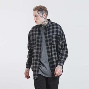 SNAP STRAP Automne Hiver longue ourlet arrondi chemise de coton décontractée à manches longues oversize Hiphop Streetwear chemise à carreaux en flanelle pour hommes
